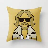 the dude Throw Pillows featuring Dude by Ale Giorgini