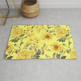Vintage & Shabby Chic - Yellow Summer Flowers Garden Rug