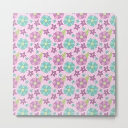 Spring teal and purple flowers with green leaves on a pink background Metal Print