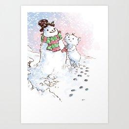 Cute Bear Making a Snowman Art Print