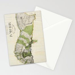 Vintage Map of Molokai Hawaii (1906)  Stationery Cards