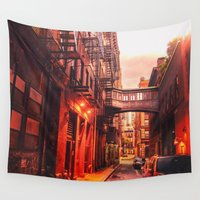 new york city Wall Tapestries featuring New York City Alley by Vivienne Gucwa