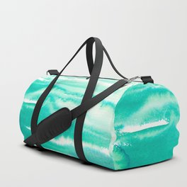 Modern hand painted teal turquoise watercolor brushstrokes Duffle Bag