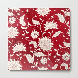 Seamless vintage background. Imitation of chinese porcelain painting. Beautiful flowers and red watercolor background. Hand drawing.  Metal Print