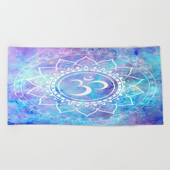 Om Mandala Pink Aqua Lavender Galaxy Space Beach Towel