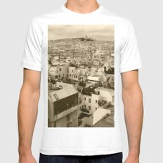 Rooftops of Paris 3 Mens Fitted Tee MEDIUM White