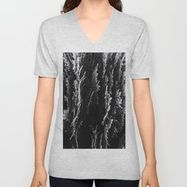 closeup leaf texture abstract background in black and white Unisex V-Neck