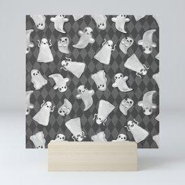 Black and White Hand Painted Kawaii Ghost Pattern Mini Art Print