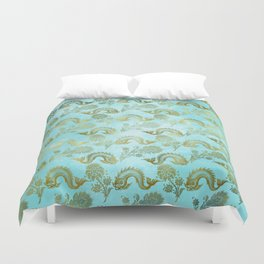 Mermaid Ocean Whale Friends - Teal And Gold Pattern Duvet Cover