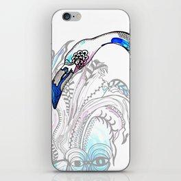 Blue Flamingo Illustration iPhone Skin