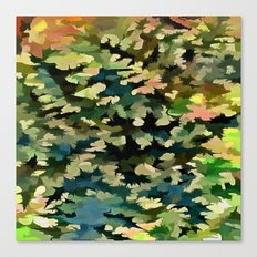 Foliage Abstract In Green, Peach and Phthalo Blue Canvas Print