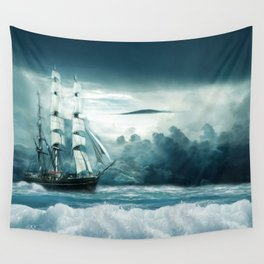 Blue Ocean Ship Storm Clouds Wall Tapestry