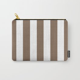 Pastel brown - solid color - white vertical lines pattern Carry-All Pouch