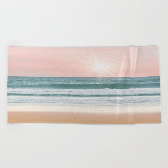 Pink pastel ocean #sunset Beach Towel