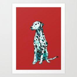 Red Blue Dalmatian Art Print