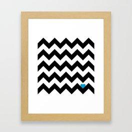 Heart & Chevron - Black/Blue Framed Art Print