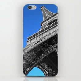 Paris eiffel tower black and white with color iPhone Skin