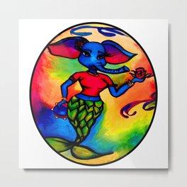 Beautiful Blue Elephant Mermaid Metal Print