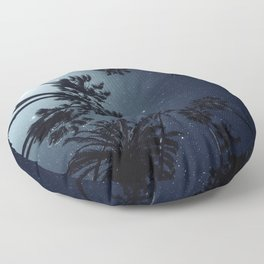 Palm Trees, Night Sky, Stars, Moon Floor Pillow