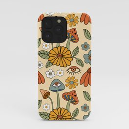 70s Psychedelic Mushrooms & Florals iPhone Case