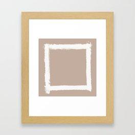 Square Strokes White on Nude Framed Art Print