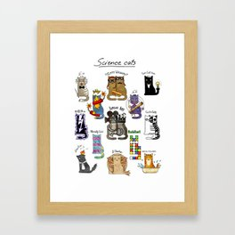 Science cats. History of great discoveries. Schrödinger cat, Tesla, Einstein. Physics, chemistry etc Framed Art Print