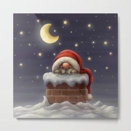 Little Santa in a chimney Metal Print