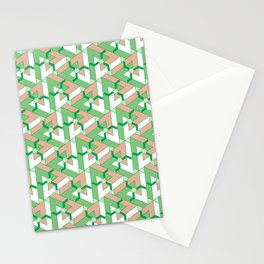 Triangle Optical Illusion Green Dark Stationery Cards
