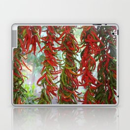 Strung and Hanging Red and Green Chili Peppers Drying Laptop & iPad Skin