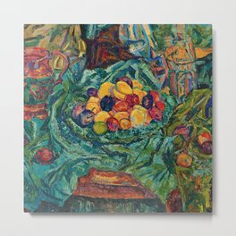 Still life with fruits, jug and small sculpture by Helene Funke Metal Print