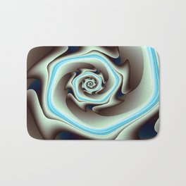 Abstract Geometric Swirl with Blue Bath Mat