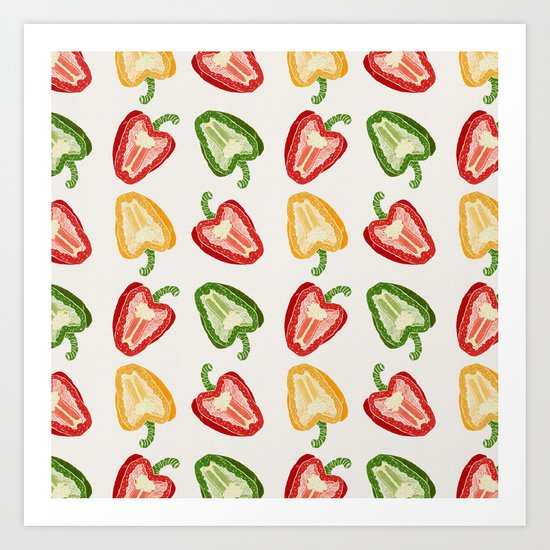 Mixed Peppers Pattern Art Print