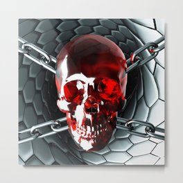 Skull and chain Metal Print