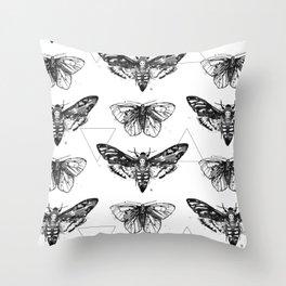 Geometric Moths Throw Pillow