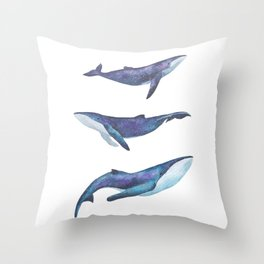 Three big space whales illustration Throw Pillow