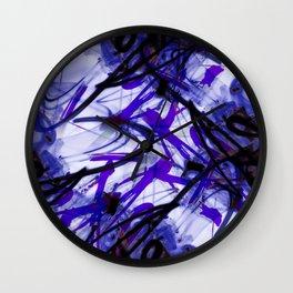 All Over Abstract Pollock Style Deep Indigo Wall Clock