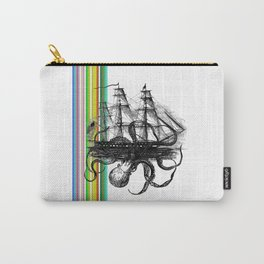 Kraken Attacking ship on Colorful Stripes Carry-All Pouch