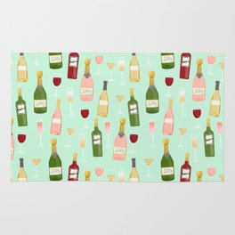 Rose drinks champagne wine bar art food fight apparel and gifts mint Rug