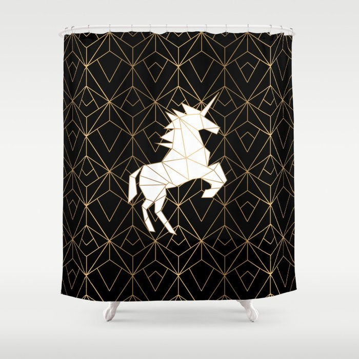 Geometric Unicorn Shower Curtain