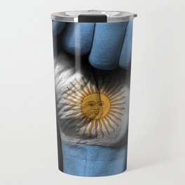 Argentine Flag on a Raised Clenched Fist Travel Mug
