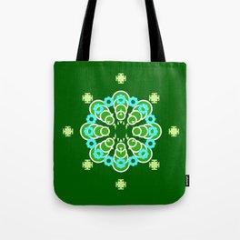 Eight point Mandala, Dark Jade Green and Aqua Tote Bag