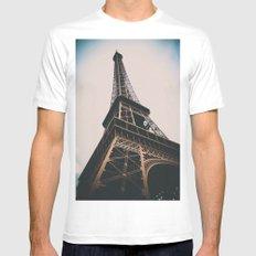 Eiffel Tower Mens Fitted Tee White MEDIUM