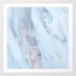Light Blue Gray Marble Art Print