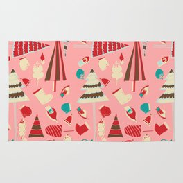 Vintage Christmas Pink Rug