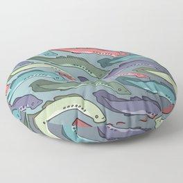 The Swim of the Lamprey Floor Pillow