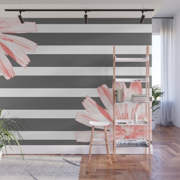 Cichoriums on stripes Wall Mural