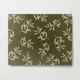 Olive Branch pattern Design - brown Metal Print