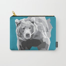 Geometric Grey Bear Carry-All Pouch