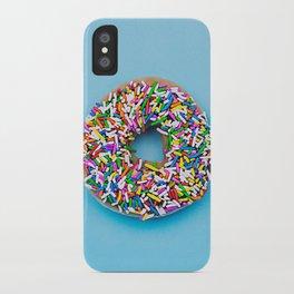 Hyperreal Sprinkled Donut on Blue iPhone Case