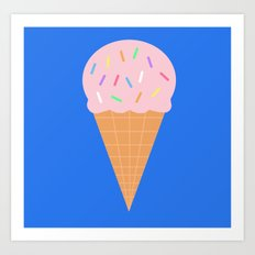 Sweet Ice cream cone with blue background Art Print